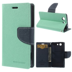 Mercury GOOSPERY Fancy Diary Magnetic Leather Case Stand for Sony Xperia Z3 Compact D5803 M55w - Cyan