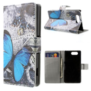 Pretty Blue Butterfly Stand Wallet Leather Skin Case for Sony Xperia Z3 Compact D5803 M55w