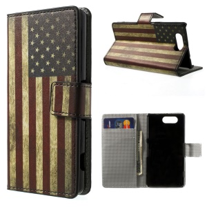 US The Old Glory PU Leather Shell with Stand & Wallet for Sony Xperia Z3 Compact D5803 M55w