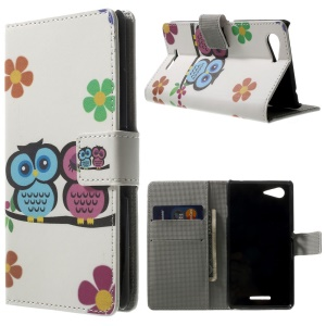 Two Owls & Flowers Wallet Leather Stand Cover for Sony Xperia E3 D2203 D2206 / E3 Dual SIM