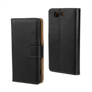 For Sony Xperia Z3 Compact Split Genuine Leather Wallet Case - Black