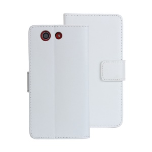 Split Genuine Leather Wallet Stand Cover for Sony Xperia Z3 Compact - White