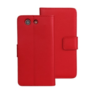 Split Genuine Leather Wallet Stand Shell for Sony Xperia Z3 Compact - Red