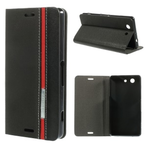 Two-color Flip Leather Stand Case for Sony Xperia Z3 Compact D5803 M55w - Black