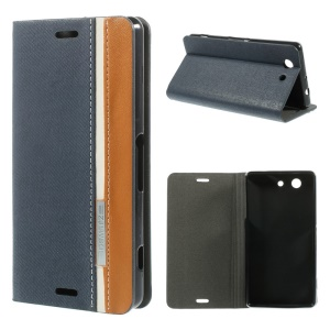 Two-color Flip Leather Stand Case Cover for Sony Xperia Z3 Compact D5803 M55w - Dark Blue