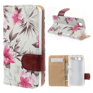 Elegant Flowers Magnetic Wallet Leather Stand Case for Sony Xperia Z3 Compact D5803 M55w - White