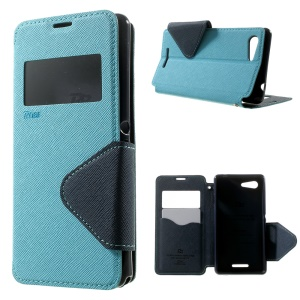ROAR KOREA Diary View Window Folio Leather Case Stand for Sony Xperia E3 D2203 D2206 / E3 Dual SIM - Baby Blue