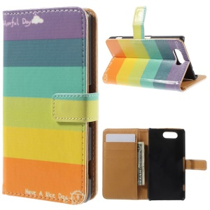 Colorful Stripes Wallet Leather Stand Case for Sony Xperia Z3 Compact D5803 M55w