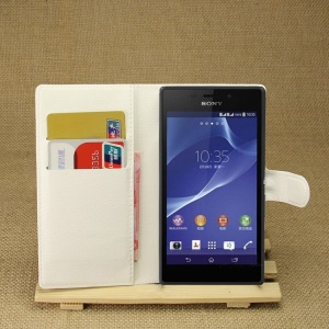 Leather Wallet Case for Sony Xperia M2 Aqua w/ Stand - White