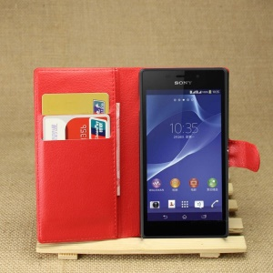 Leather Wallet Case for Sony Xperia M2 Aqua w/ Stand - Red