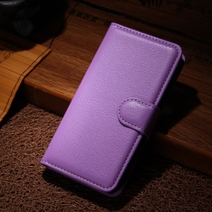 Leather Wallet Cover for Sony Xperia M2 Aqua w/ Stand - Purple