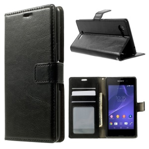 Crazy Horse Pattern for Sony Xperia E3 D2203 D2206 / E3 Dual SIM Leather Wallet Case w/ Stand - Black
