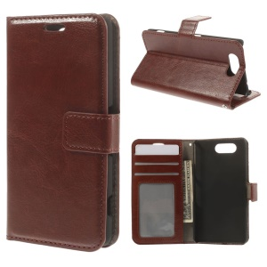 Crazy Horse Leather Wallet Case for Sony Xperia Z3 Compact D5803 D5833 M55w - Brown