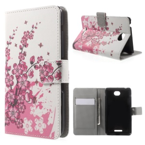 Wallet Leather Cover for Sony Xperia E4 with Card Slots and Stand - Plum Blossom