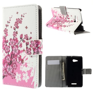 Credit Card Slot Leather Case for Sony Xperia E4g / Dual - Plum Blossom