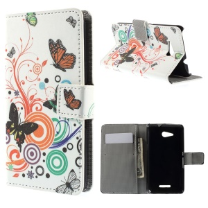 Wallet Leather Case with Stand for Sony Xperia E4g / Dual - Butterflies and Circles