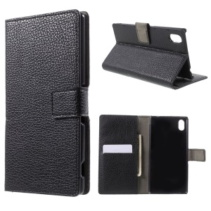 Litchi Skin Leather Wallet Case for Sony Xperia M4 Aqua / Aqua Dual with Stand - Black