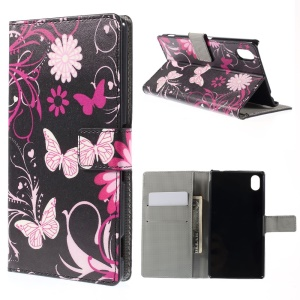 Butterfly Flowers Leather Case for Sony Xperia M4 Aqua / M4 Aqua Dual with Card Slots
