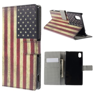 Vintage American Flag Leather Case Cover for Sony Xperia M4 Aqua / M4 Aqua Dual with Card Slots