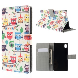 Multiple Owls Leather Cover for Sony Xperia M4 Aqua / M4 Aqua Dual with Card Slots