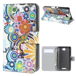 Colorized Flower for Sony Xperia E4 / E4 Dual Leather Card Holder Cover
