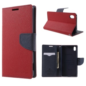 MERCURY Goospery Leather Wallet Stand Case for Sony Xperia Z3+ E6553 Z4 / Z3+ dual E6533 - Red
