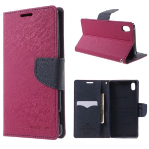 MERCURY Goospery Leather Case Card Holder for Sony Xperia Z3+ E6553 Z4 / Z3+ dual E6533 with Stand - Rose