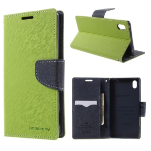 MERCURY Goospery Leather Wallet Stand Case for Sony Xperia Z3+ E6553 Z4 / Z3+ dual E6533 - Green