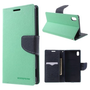 MERCURY Goospery Leather Case Card Holder for Sony Xperia Z3 Plus E6553 Z4 / Z3+ dual E6533 with Stand - Cyan