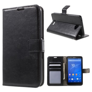 Crazy Horse Leather Wallet Case for Sony Xperia E4 with Stand - Black