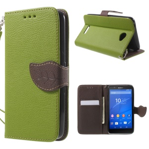 Leaf Magnetic Leatherette Wallet Cover for Sony Xperia E4 / E4 Dual - Green