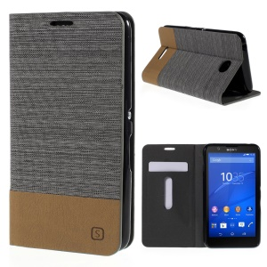 Assorted Color Linen Leather Case for Sony Xperia E4 / E4 Dual Credit Card Holder - Dark Grey