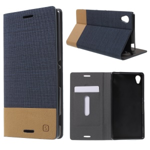 Stand Leather Case with Card Slot for Sony Xperia M4 Aqua / Aqua Dual - Dark Blue