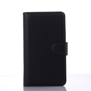 Litchi Skin Leather Stand Case for Sony Xperia E4g Dual / E4g - Black