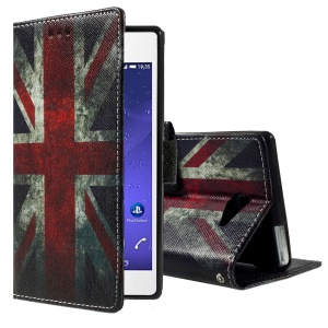 Callfree Patterned Leather Wallet Cover for Sony Xperia M2 Aqua - Retro Union Jack Flag