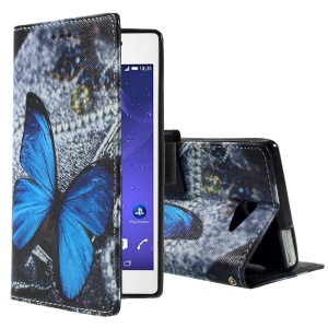 Callfree Patterned Leather Bracket Case for Sony Xperia M2 Aqua - Blue Butterfly
