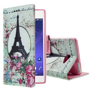 Callfree Patterned Leather Bracket Case for Sony Xperia M2 Aqua - Eiffel Tower and Flowers