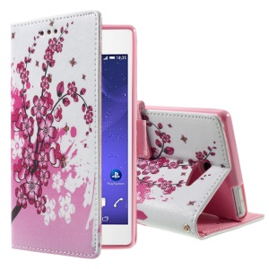 Callfree Patterned Leather Card Holder Case for Sony Xperia M2 Aqua - Plum Blossom