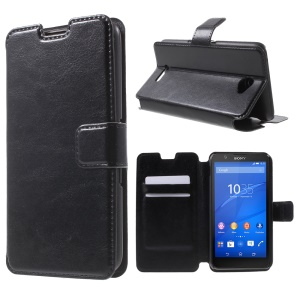 Crazy Horse Leather Protection Case for Sony Xperia E4 / E4 Dual - Black