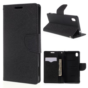 MERCURY GOOSPERY Leather Case for Sony Xperia M4 Aqua/Aqua Dual with Stand - Black