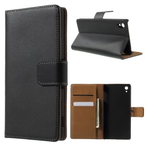 Genuine Split Leather Wallet Case Cover for For Sony Xperia Z3+/Z3+ E6533 Dual - Black
