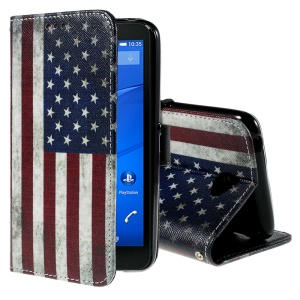 Callfree Leather Stand Wallet Cover for Sony Xperia E4 / E4 Dual - Vintage The Old Glory