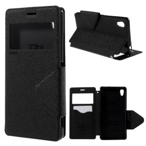 ROAR KOREA Diary View Leather Case Cover for Sony Xperia M4 Aqua / Dual - Black