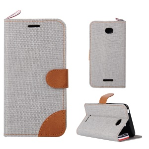 Jeans Cloth Card Holder Leather Phone Case for Sony Xperia E4 / E4 Dual - Grey