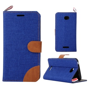 Jeans Cloth Leather Card Holder Case for Sony Xperia E4 / E4 Dual - Dark Blue