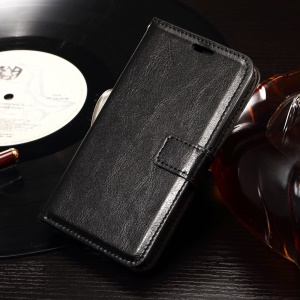 Crazy Horse Magnetic Flip Leather Case for Sony Xperia E4g E2003 / Dual E2033 - Black