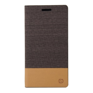 Assorted Color Linen Leather Stand Case for Sony Xperia C4 E5303 / C4 Dual E5333 - Coffee