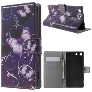 PU Leather Stand Case for Sony Xperia M5 E5603 / M5 Dual E5633 with Card Slots - Purple Butterfly