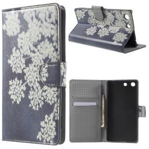 PU Leather Stand Case Cover for Sony Xperia M5 E5603 / M5 Dual E5633 - Elegant Flowers