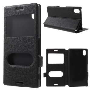 Dual View Windows Silk Texture Leather Stand Case for Sony Xperia M4 Aqua / Dual - Black